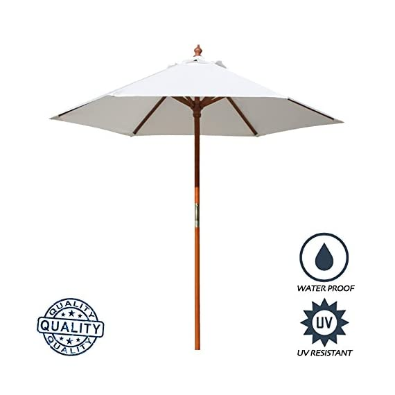 "Above All Advertising, Inc. 7 ft Round Wood Market Umbrella Outdoor Patio Garden Table Umbrella, White - Pole Height : 86"" (7.16 Feet), Canopy Diameter: 84"", Rib Size: 42"", Rib to Rib Spacing Size: 39"", Pole Color: Brown, Opening System: Pulley Pole 6 Umbrella Panels with the total length of 39"" rib to rib when set-up Round Umbrella with extra crown wind vent, which allows gusts of wind to escape - shades-parasols, patio-furniture, patio - 41xntJvz79L. SS570  -"