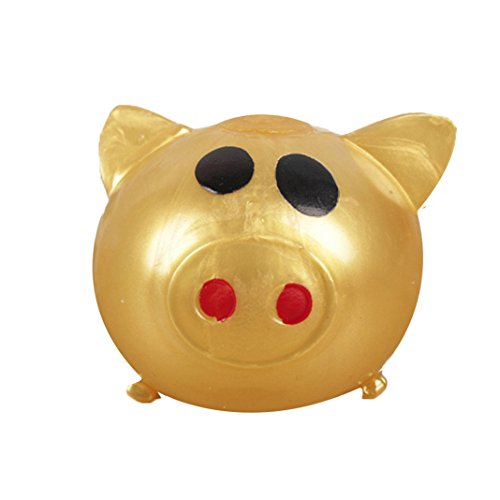 1Pc Anti-stress Splat Ball Vent Toy Smash Various Styles Pig Toys Scented Squishies Slow Rising Decompression Squeeze Toys for Kids or Stress Relief Toy Hop Props (Gold)