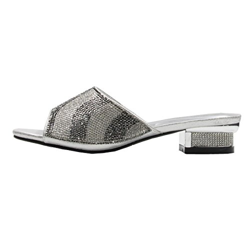 Women's Rhinestone Glitter Sparkles Open Toe Low Heeled Sandals with Memory Foam (9, Silver) by Stylish & Comfort (Image #2)