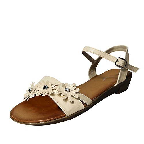 Schuhtraum Damen Sandalen Sandaletten Blumen Keilabsatz Zehentrenner ST42 Beige
