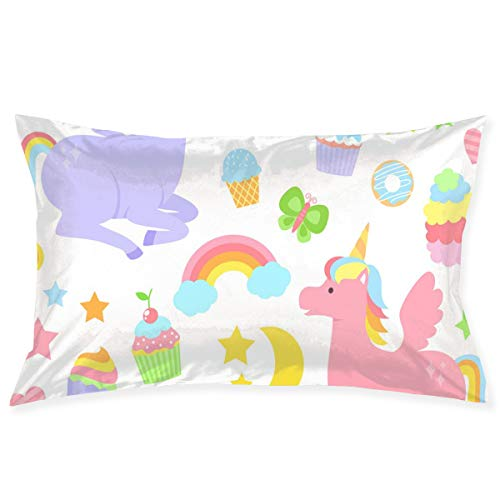 Pamdart Donut Star Butterfly Candy Unicorn Set Personalized Rectangular Printed Pillowcase Invisible Zipper Without Insert 20''30''