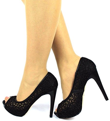 XINJING-S Neue Damen Spitzen High Heels Peep Toe Shoes Wedding Party Abend Pumpe Größe, Uk3/EU36