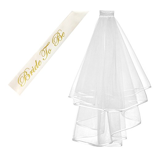 Double Sash - Kung Fu Party Double Ribbon Edge Center, Cascade Bridal Wedding Veil With Comb and Bride To Be Satin Sash, Bachelorette Party Decorations Supplies, White
