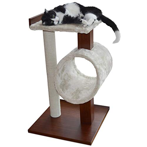 PetFusion Modern Cat Tree House & Tall Scratching Post (33' tall).  Modern and neutral platforms, Espresso finish