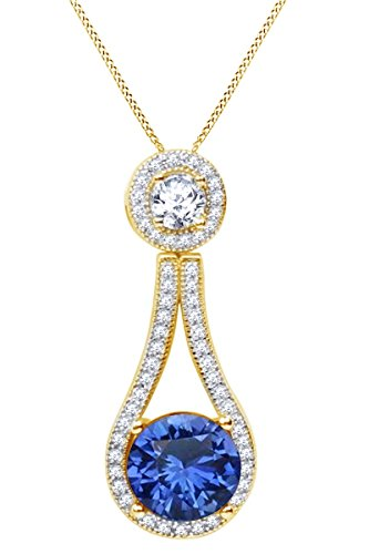 AFFY 8mm Simulated Blue Sapphire & Cubic Zirconia Fashion Pendant Necklace in 14k Yellow Gold Over Sterling Silver by AFFY