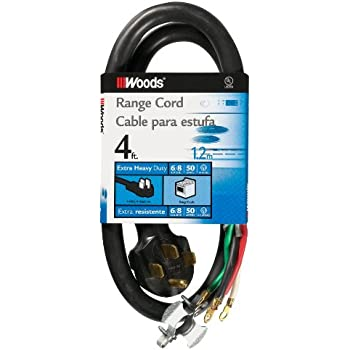 Woods 0761 50-Amp Range Appliance Power Supply Cord 4 ft Black