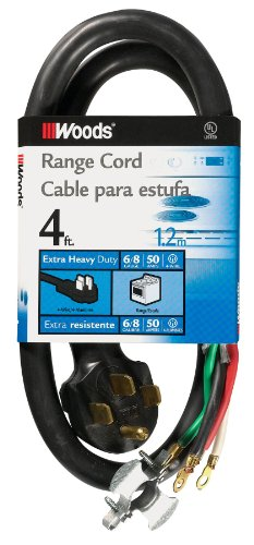 (Woods 0761 6/2-8/2 SRDT 50-Amp Range Appliance Power Supply Cord, 4-Feet, Black)