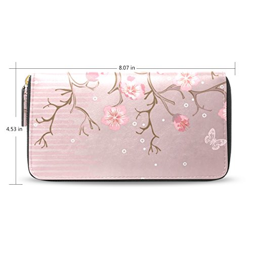Senya Lady Women Long Design Card Holder Zipper Clutch Wallet Fashion Purse, Cherry Blossom Pattern (Pattern Blossom Time)