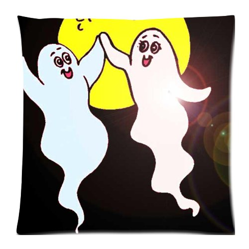 [Happy Halloween Decor Playing Ghost Print 18x18 Inch Throw Pillow Cover] (Diy College Girl Halloween Costumes)