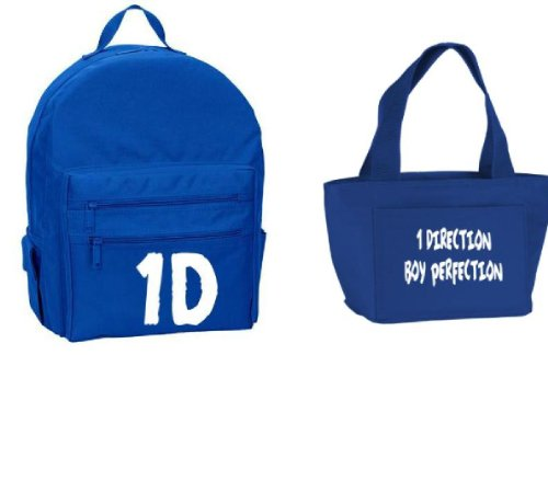 One Direction Backpack and Insulated Lunch Bag Set Royal Blue White, Bags Central