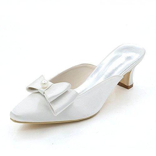 Pantoufles Femmes Talons Mariage Chaussures yc Nuit Pour White L Hauts Bas Sandales 7nwOAxx8