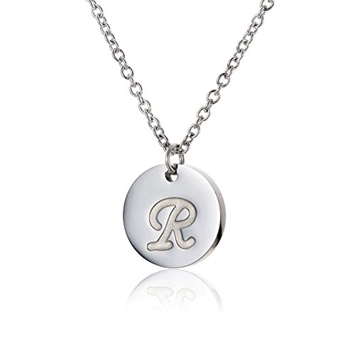HUAN XUN Silver Round Disc Initial Pendant Necklace R Initial Necklace ()