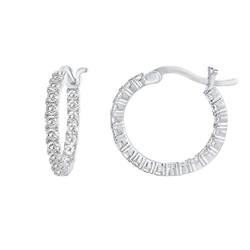 PAVOI 14K Gold Plated 925 Sterling Silver Post Cubic Zirconia Hoop Earrings | White Gold Hoops