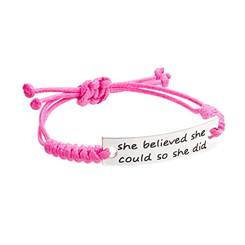 Inspirational Jewelry Bracelet - She Believed She Could So She Did Quote - Silver Charm Wrap - Engraved Sayings for Inspiration, Motivation for Women, Men, Teens, Girls