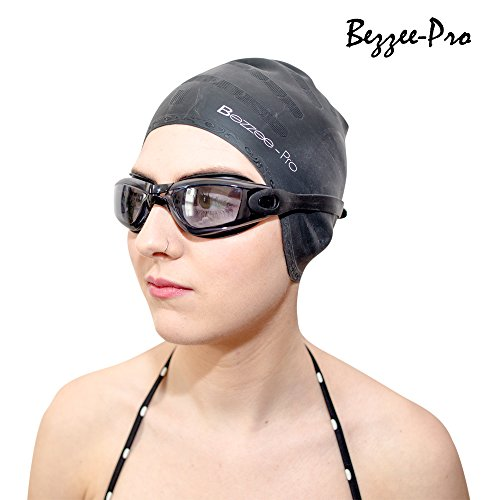 Black Swimming Cap for Men & Women - Strong Silicone Swim Cap with Ergonomic Ear Pockets - Anti-Tear Swim Hats - with Free Nose Clip and Ear Plugs  by Bezzee-Pro