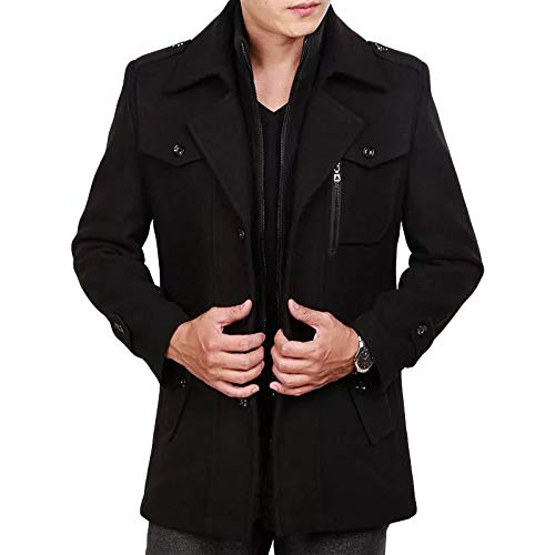 Fleece Mens Woolen Dress Collar Yra Windbreaker Formal Padded Loose Jacket Male Banquet Winter Business Double Warm For Black2 Coat Tops Ix88XqUw