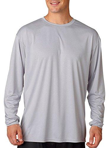 A4 Adult Cooling Performance Long-Sleeve T-Shirt, Silver, Medium