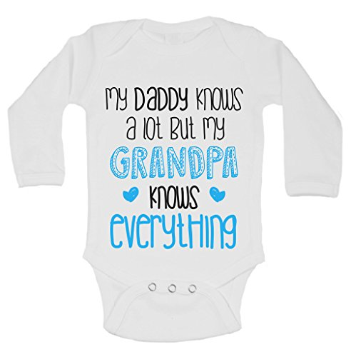 Daddy Knows a lot My Grandpa Knows Everything Newborn Funny Onesie 0-3 Months, White - Lot 2 Bodysuits