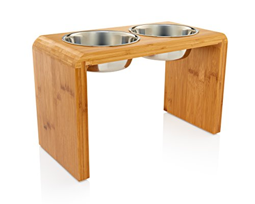 "Premium 12"" Elevated Dog Pet Feeder, Double Bowl Raised Stand Comes with Extra Two Stainless Steel 56oz Bowls. Perfect for Large Dogs"
