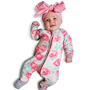 NNJXD Girl Cotton Long Sleeve Patterned Unisex Onesie For Baby and Toddler Rose Size 0-6 Months