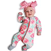 NNJXD Girl Cotton Long Sleeve Patterned Unisex Onesie for Baby and Toddler Ro...