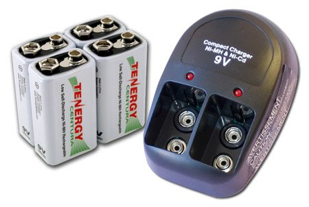 Tenergy T-228 Plug-in Compact Charger + 4 pcs 9V 200mAh Centura (LSD) NiMH Rechargeable Batteries