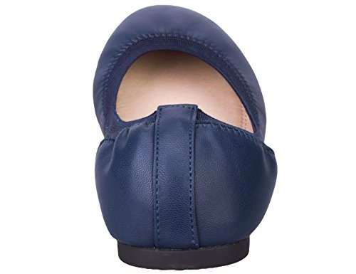 Greatonu Femmes Chaussures Confort Slip Sur Ballerine Ballerines De Marche Bleu