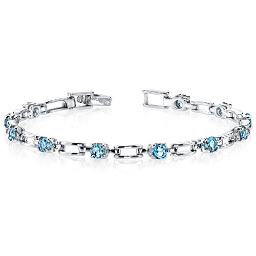 London Blue Topaz Bracelet Sterling Silver Rhodium Nickel Finish 3.00 Carats Chic (Bangle Blue Topaz Bracelet)