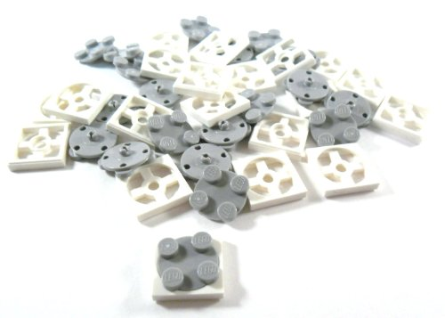 Lego Parts: Turntable 2x2 Plate, Complete Assembly with White Base & Light Bluish Gray Top - x20 Loose