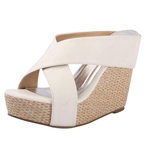 Dbdk Sallie-4 Platform Sandals, White Pu, 8