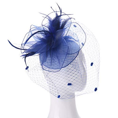 FELIZHOUSE Fascinators Hats for Women - Kentucky Derby Tea Party Headwear - Wedding Cocktail Headband Hair Clip - Feather Mesh Flower Veil Headpiece (Royal Blue)