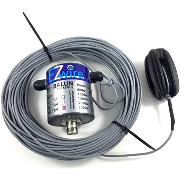Balun EZwire - Dipol de banda ancha (500 W, 32 m, 1:9, 10 ...