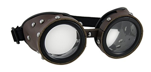 Costumes Apocalyptic (Plastic Mens Costume Headwear And Hats 17310 Studded Brown Low Profile Adult Steampunk Goggles 6 X 2.5 X 2.5 Inches)