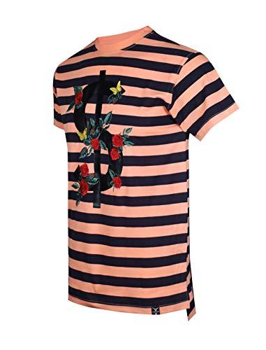SCREENSHOTBRAND-S11903 Mens Hipster Hip-Hop Premium Tee - Luxury Longline Dollar Sign Flower Print T-Shirt-Pink-Medium
