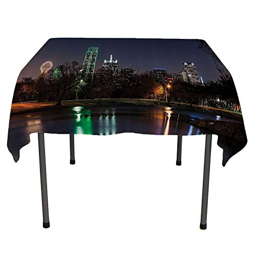 Apartment Decor Collection Kitchen Table Cover Dallas Skyline Reflected in a Lake City Park Trees Night Landscape Scene View Navy Blue Green Everyday Table Cloth Spring/Summer/Party/Picnic 50 by 80 ()