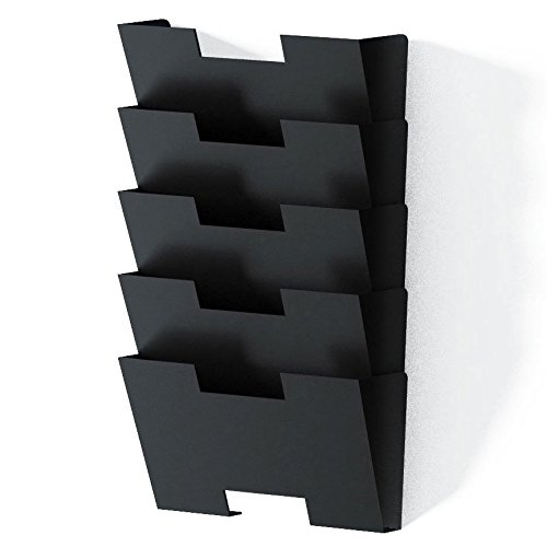 Wall Mount Steel File Holder Organizer Rack Modular Design Wider Than Letter Size 13 Inches  Multi-purpose  Organize Display Magazines Sort Files and Folders  5 Sectional Black (Steel Holder Magazine)