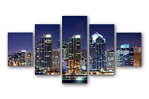 "GLITZFAS PRINTS 5 Panel Wall Art Painting - san - Diego Night California USA Skyscrapers Lights City - Canvas Stretched with Wooden Frame for Home Decor (12""x16""x2+12""x24""x2+12""x32""x1)"