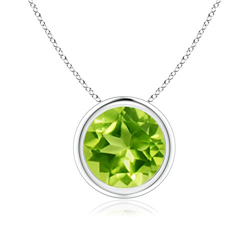 (Bezel-Set Round Peridot Solitaire Pendant in Silver (8mm Peridot) )