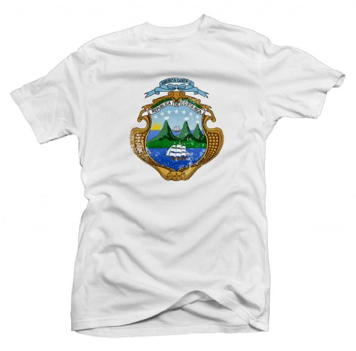 Costa Rica Vintage Coat of Arms Shortsleeve Tee (White) Youth Large [P*] by FourEleven (Image #1)'
