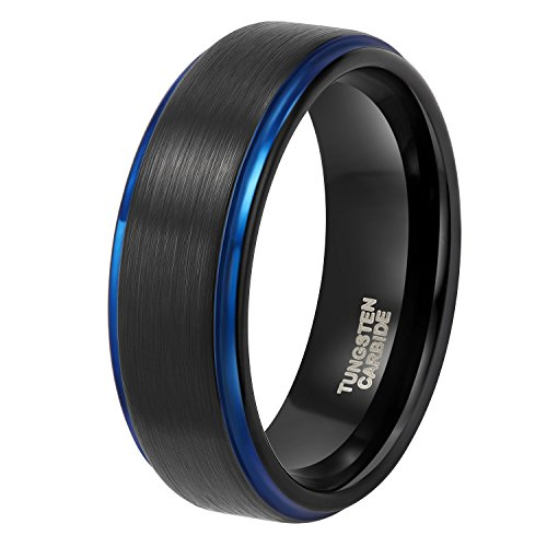 Shuremaster 8mm Black Tungsten Carbide Mens Ring with Blue Stepped Edge Matte Brushed Finish Comfort Fit (10.5)