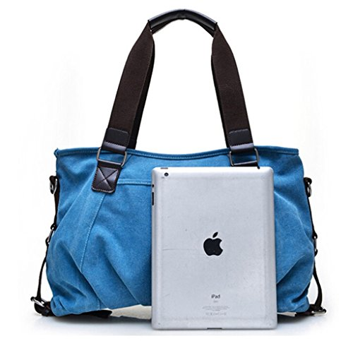 Tiny Chou Color Puro De La Mujer Estilo Vintage lienzo bolso Cruz Cuerpo Bolso con Correa de Hombro Desmontable Azul - azul