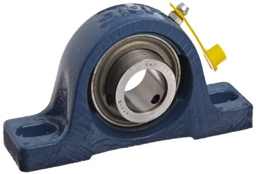 SKF SY 1. RM Pillow Block Ball Bearing, 2 Bolts, Normal-Duty, Setscrew Locking Collar, Contact Seals, Cast Iron, Inch, 1