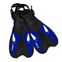 KIMILILY fins, made of highly reactive and lightweight material, ensures agile and effective kicking while not tiring out your legs. The innovative design of the blade angle, hydrodynamic rails and the above blade foot pocket offers the best ...
