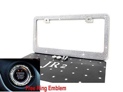 Updated JR2 Popular 7 Row Bling White Crystal Metal Chrome License Plate Frame+Matching Screw Cap+Screw+Free White Ring (Best 1000 Jewels Friends Unisex Rings)