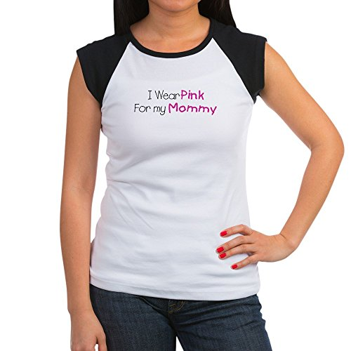 Royal Lion Women's Cap Sleeve T-Shirt Cancer I Wear Pink Ribbon for My Mommy - Black/White, L (12-14)