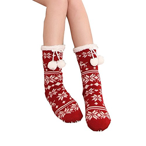 Slipper Socks Snowflake Fleece