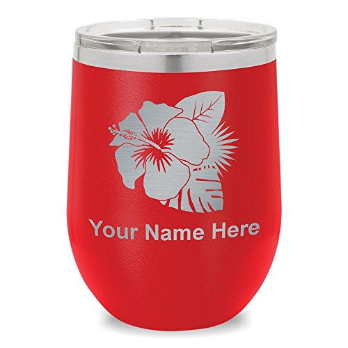 Wine Glass Tumbler, Hibiscus Flower 2, Personalized Engraving Included (Red) by SkunkWerkz