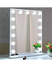 BEAUTME Makeup Mirror with Lights,Hollywood Mirror with 15pcs Led Bulbs,Tabletop or Wall Handing Mirror Dressing Beauty Mirror Touch Control and Plug in Adapter (42/51.2, White)