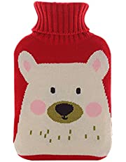 Cascabar Hot Water Bottle With Knit Bottle Cover 2000ml Large Hot Water Bottle Rubber Warm Hand Hot Water Bottle