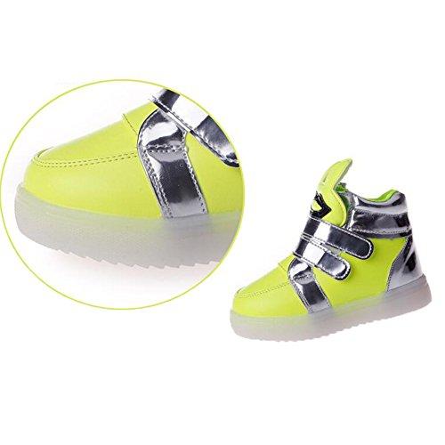 Highdas Muchachas de los muchachos del cuero LED Anti Slip Light Up Zapatos White